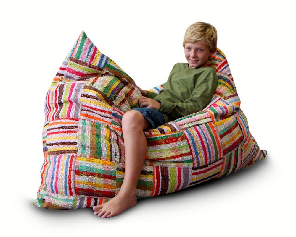 mushroom bean bag chair cheap spandex covers pillow made from multi coloured t shirt off cuts ashanti