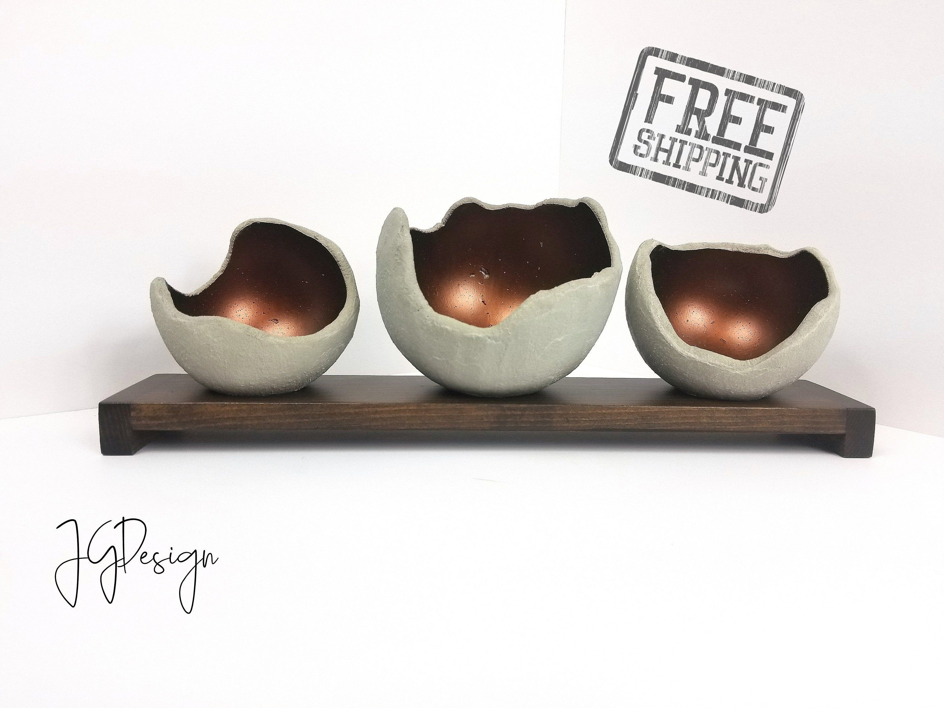 Copper Concrete Bowl Air Plant Holder Candle Holder Etsy In 2020 Concrete Bowl Air Plant Holder Candle Holders