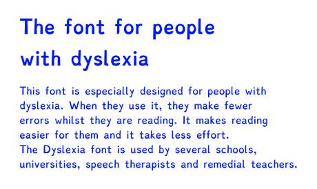 The font for people with dyslexia