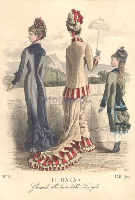 Old Rags - 1878 Walking or Promenade dress. Italian Il Bazar.