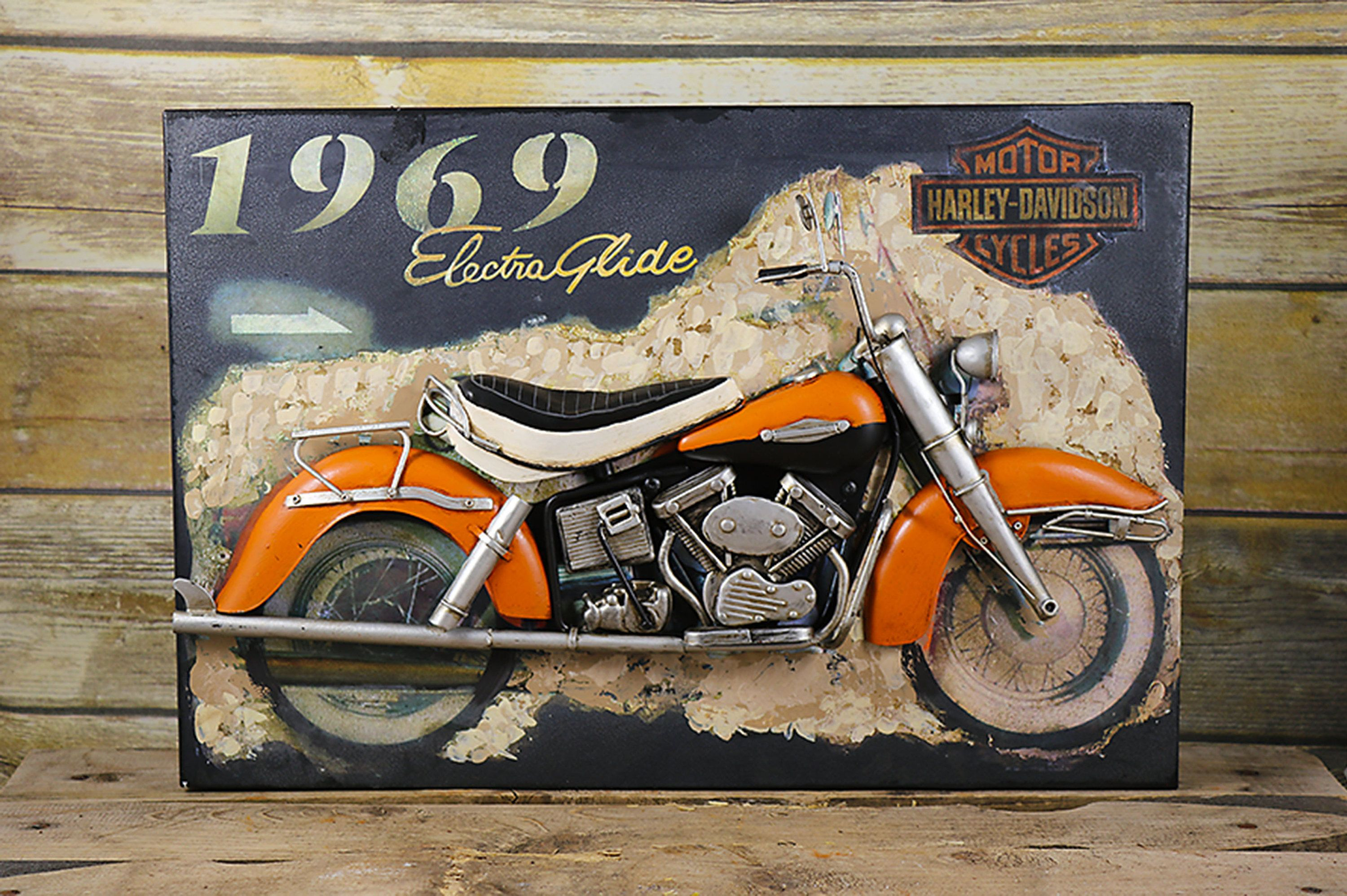 Harley Davidson Art, Metal Wall Art, 3D Wall Art, Vintage Motorcycle Art,