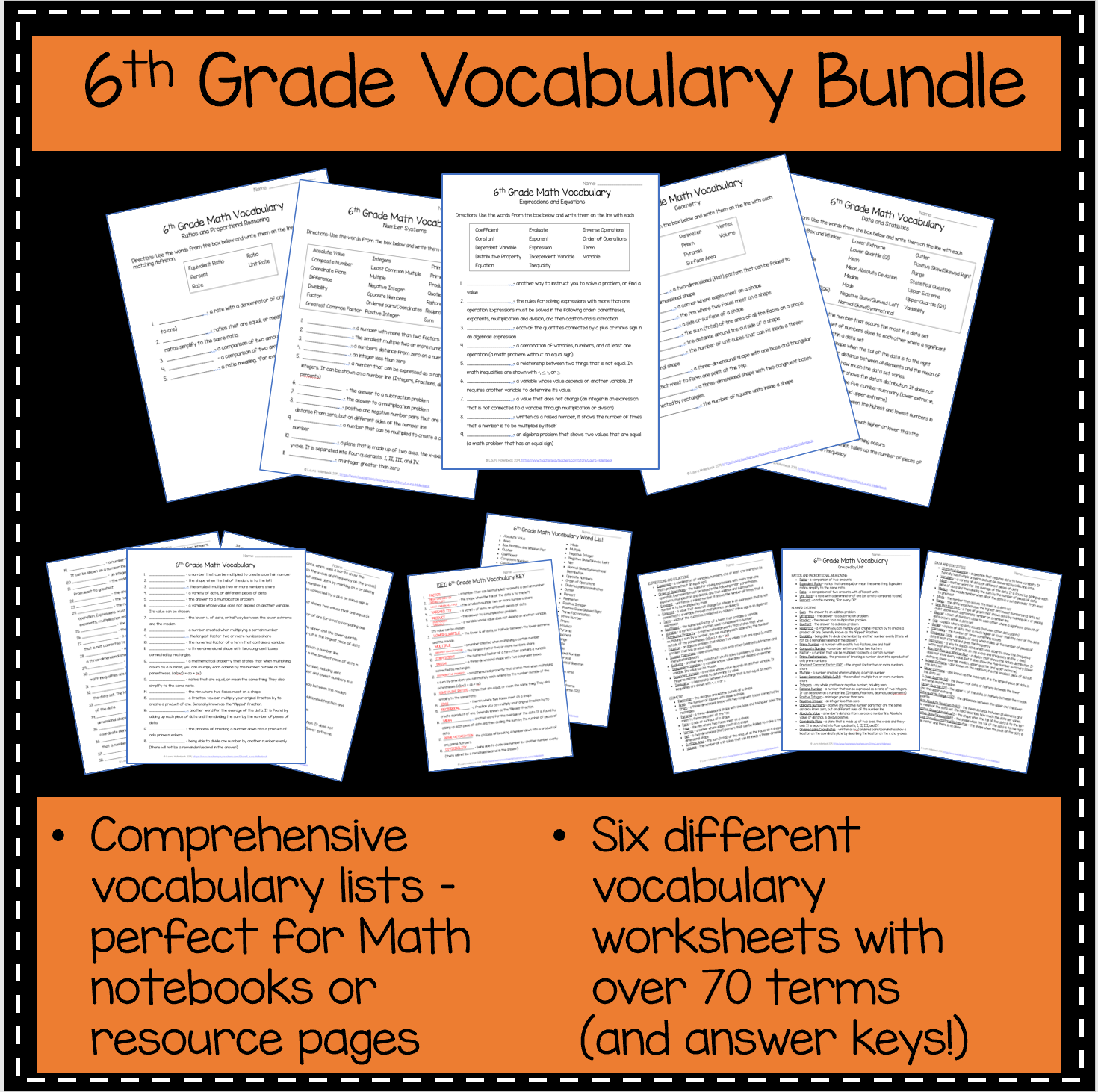6th Grade Math Vocabulary Pack