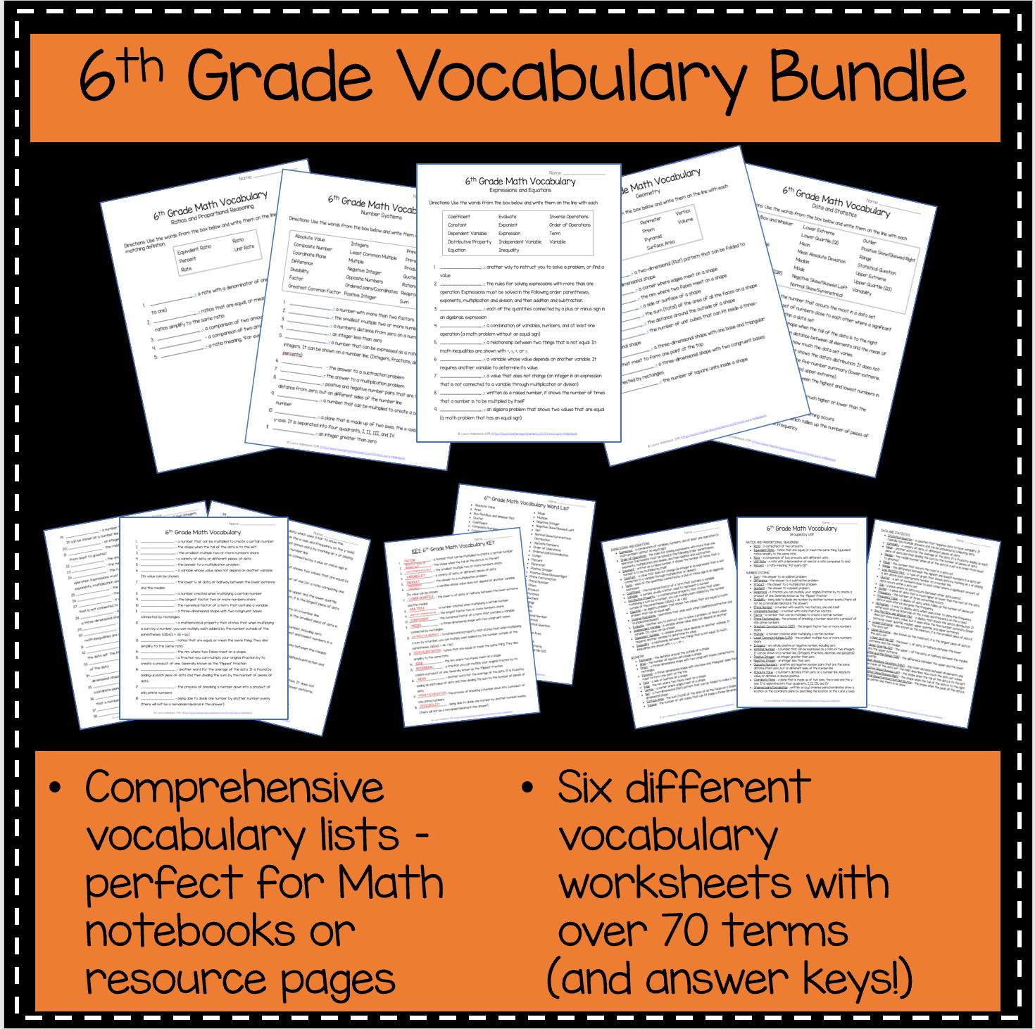 6th Grade Math Vocabulary Pack