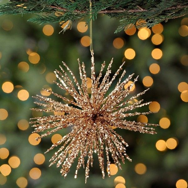 Glitter Copper Burst Ornament ($539) ❤ liked on Polyvore featuring