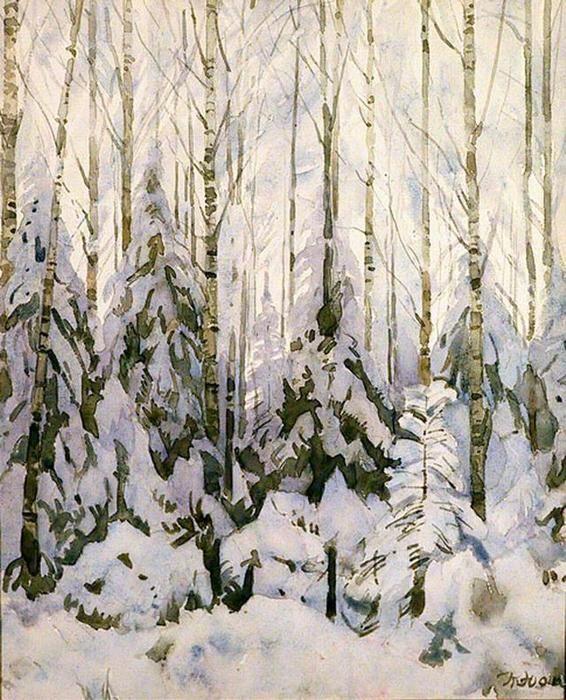 Hiver dans la forêt, laver de Konstantin Yuon (1875-1958, Russia)