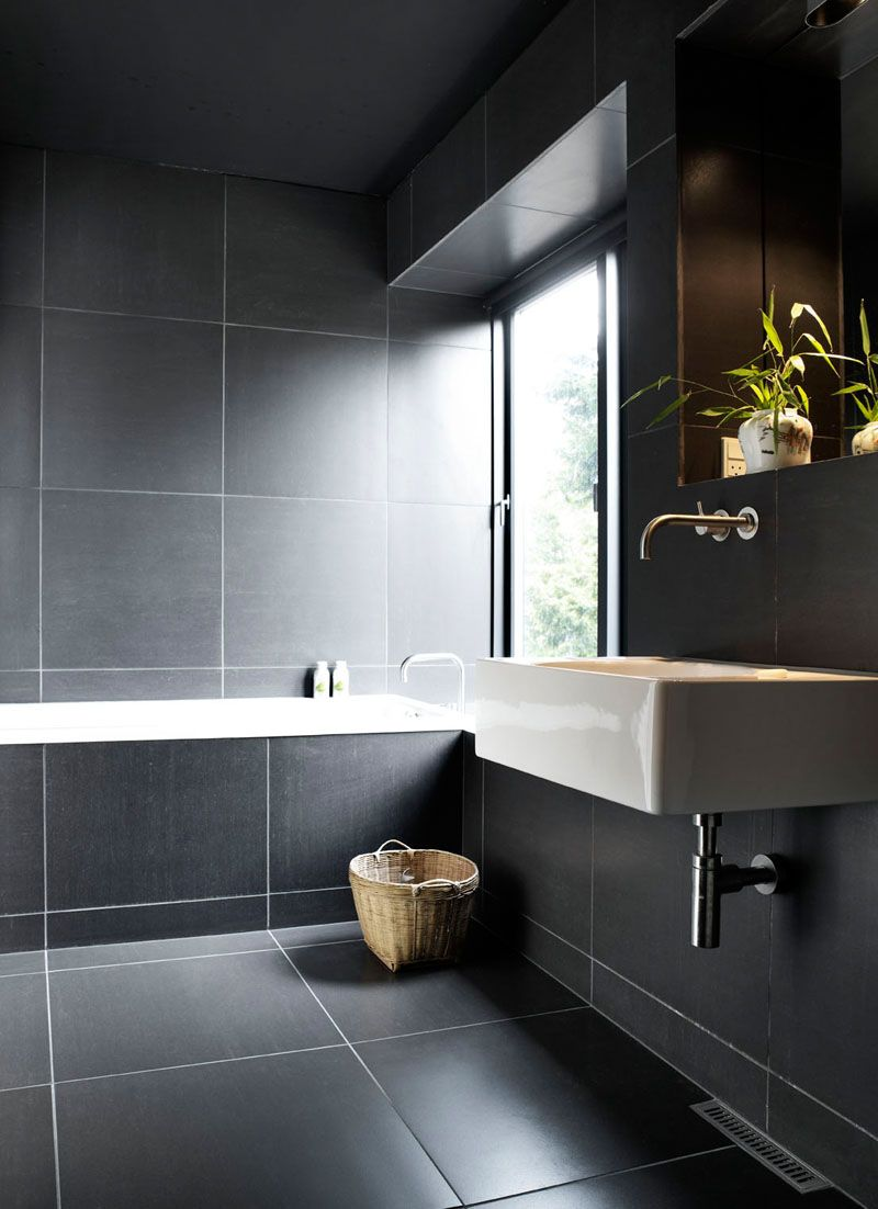 Bathroom Tile Ideas Use Large Tiles On The Floor And Walls The Use Of White Grout Around These Large Bathroom Design Luxury Dark Bathrooms Bathroom Design