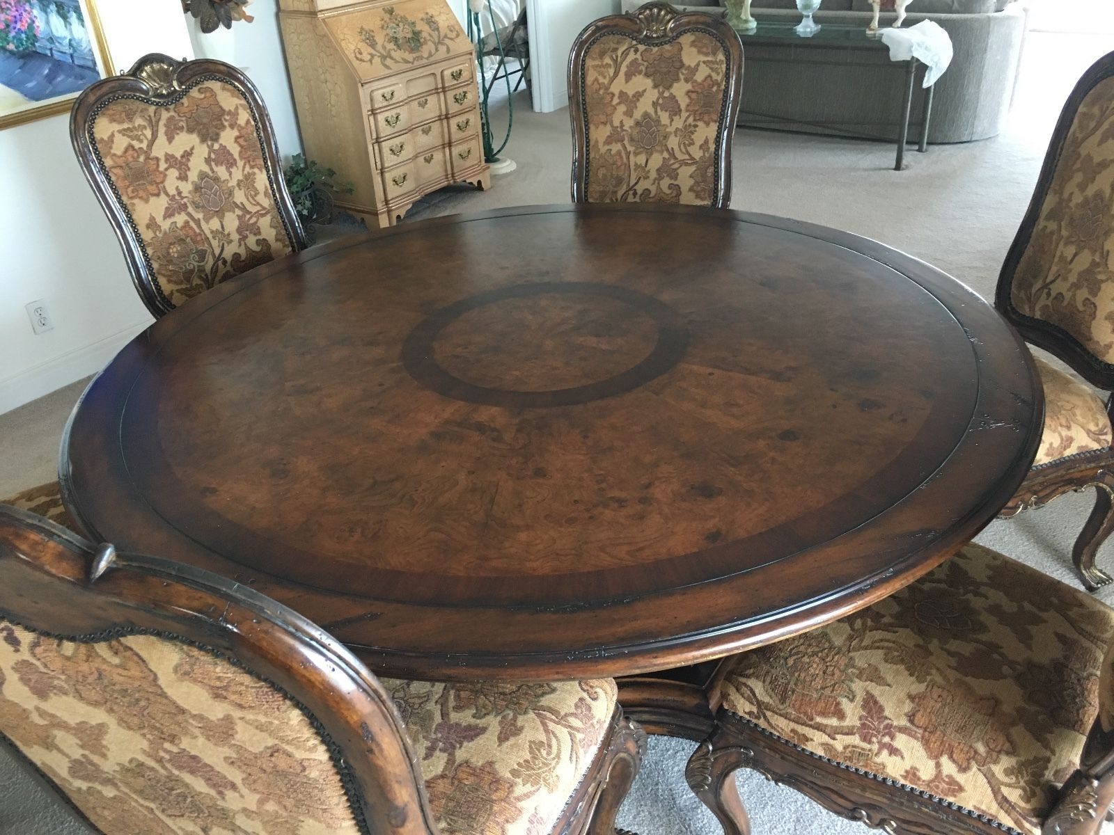 Marge Carson Cho 8 Chateau Chaumond 6 Foot Round Dining Room Tablle And Side Cha Round Dining Room Formal Dinning Room Dinning Room [ 1200 x 1600 Pixel ]