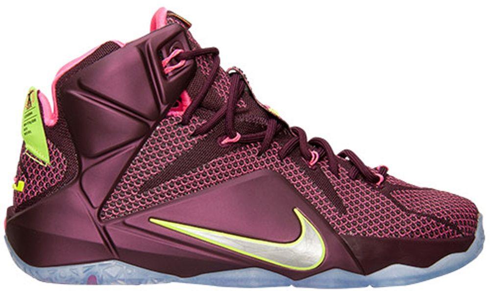 Nike LeBron 12 Merlot/Metallic Silver-Pink Flash-Volt
