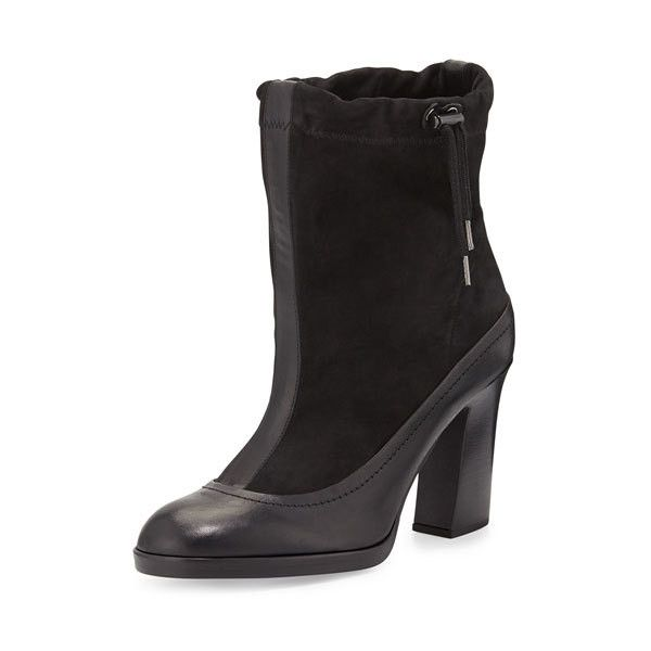 Rag Bone Holt Slouchy Ankle Boot, Black ($268) ❤ liked on Polyvore featuring shoes, boots, ankle booties, black booties, chunky black boots, black bootie boots, high heel ankle boots and black boots