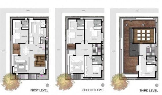 Planos de casa de tres pisos con moderna estructura en exteriores