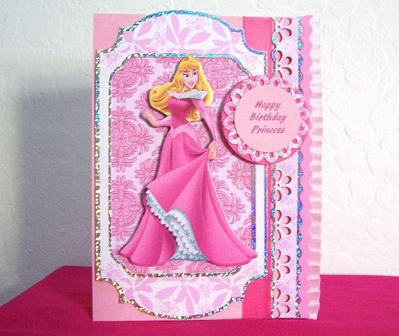 princess aurora sleeping beauty handmade birthday card