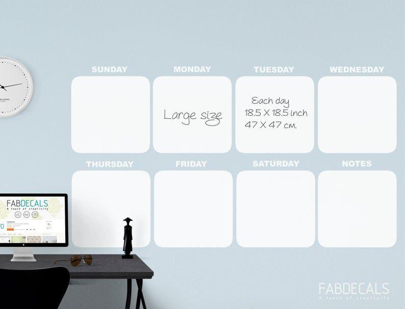 Large Whiteboard Calendar Wall Decal Weekly Dry Erase Calendar