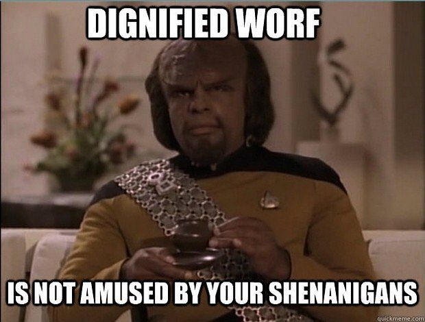Worf doesn't laugh at your jokes. :) #startrek #geek