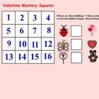 This is a Smart Notebook 11 file.  There are 3 pages in this file.  Pg 1 Valentine Mystery Squares  Students click on 1 of 16 squares to reveal 1...