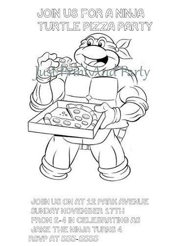 teenage mutant ninja turtles birthday colouring invitation printable - Ninja Turtle Pizza Coloring Pages