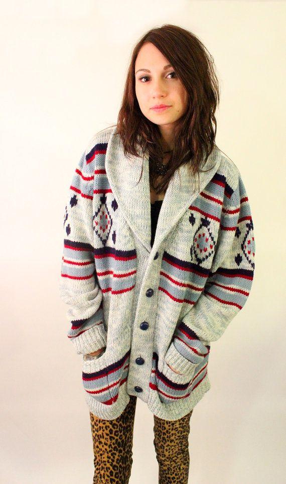 106d4581 NAVAJO NIGHTS 70s Native American Pattern Knit Boho Slouchy Sweater ...