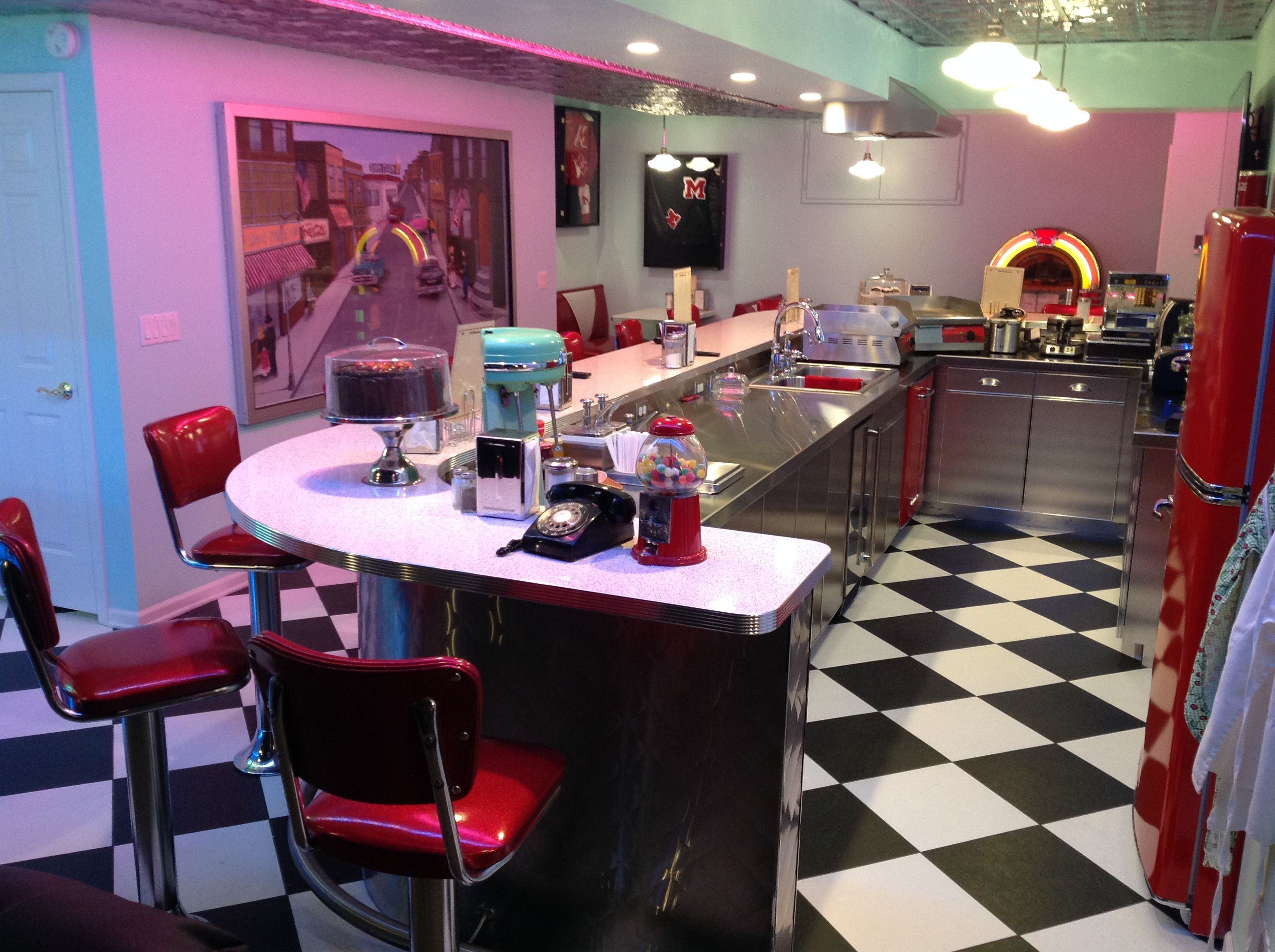 50's Diner in a basement here in Monroe Mi | Movie themed ...