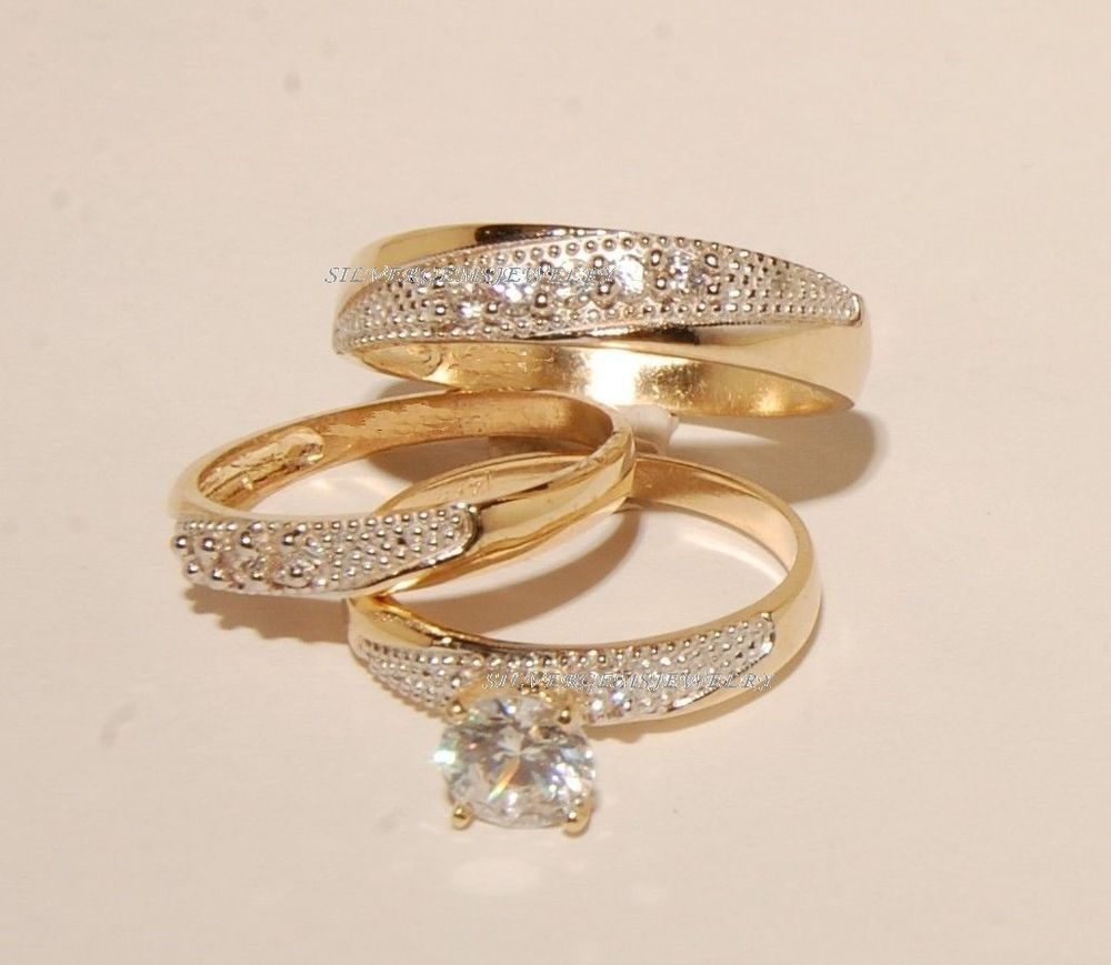 Diamond Trio Set Matching Engagement Ring 10K Yellow Gold Wedding Band 147 Ct