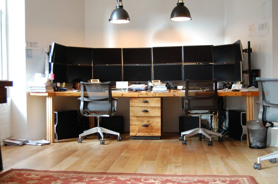 2 Person Home Office Desk Design Ideas With Wooden Cabinets Also Modern Arm Chair For Place