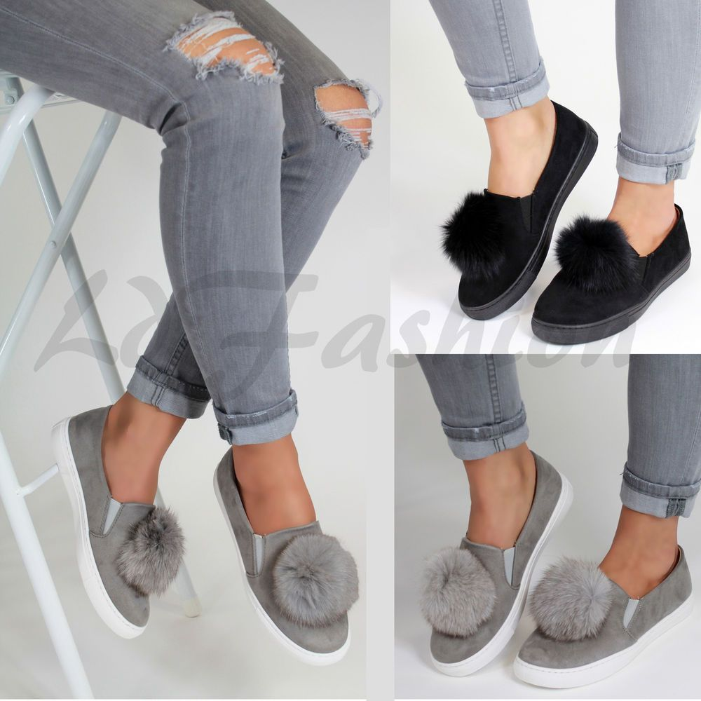 LADIES Womens Pom Pom Suede Style Loafers Brogue Flat Trainers Pumps Quality Sho
