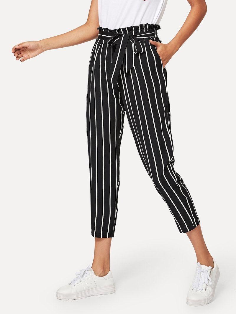 Pantalones De Rayas De Cintura Con Lazo Ribete Fruncido Pantalon A Rayas Mujer Pantalon De Tela Mujer Ropa De Moda