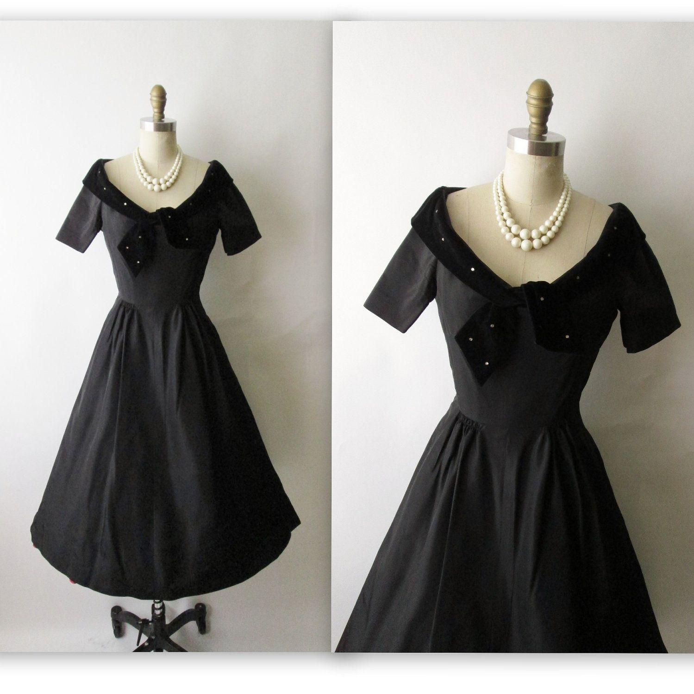 50 S Cocktail Dress Vintage 1950 S Black Taffeta Etsy Cocktail Dress Vintage Dresses 1950s Dress [ 1500 x 1499 Pixel ]