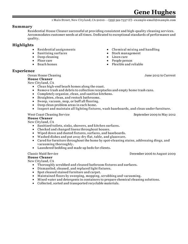 unforgettable residential house cleaner resume examples stand out - cleaning job resume sample