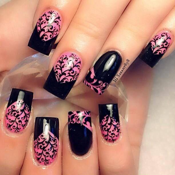 Black And Hot Pink Nail Ideas Pinterest