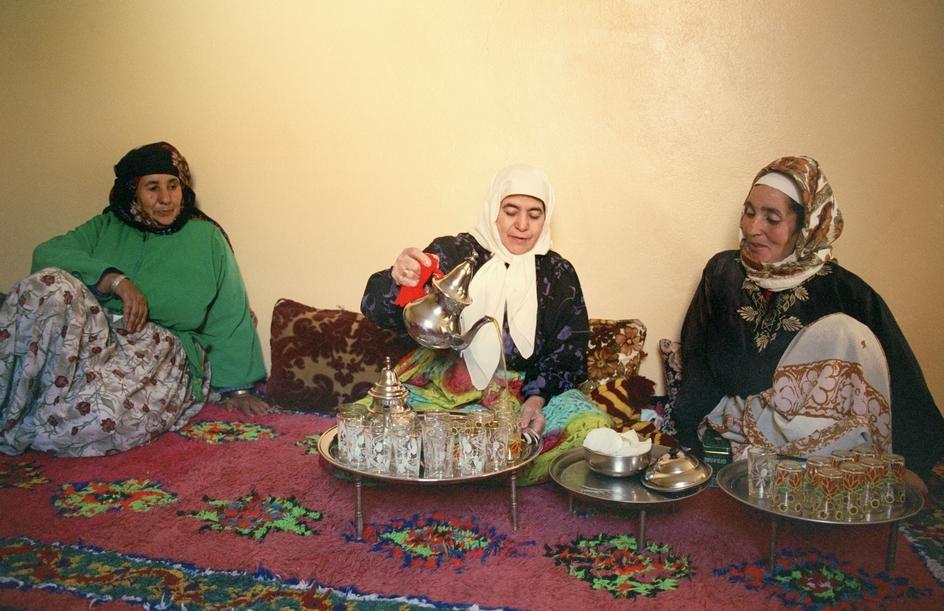 Morocco. Village of Mzouda, near Marrakech. Women drinking tea. 2003.jpg