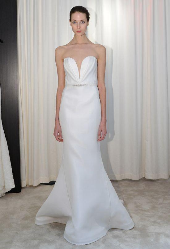 Deep V Neck Strapless Trumpet Wedding Dress