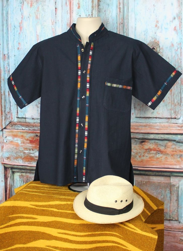 9c9ddeda61 Latin American Men s Guayabera Shirt Dark Blue Mandarin Collar - made in  Mexico  Handmade  Guayabera