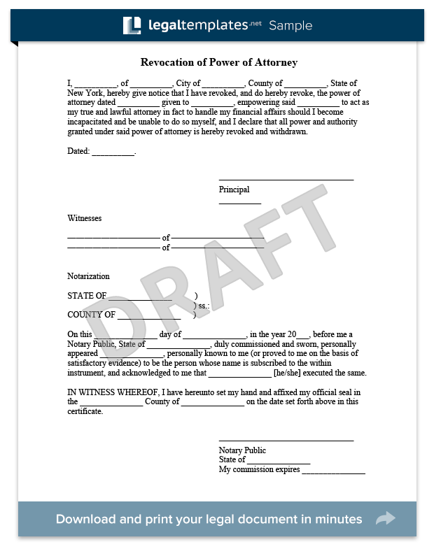 Revocation Of Power Of Attorney Sample For More Information On