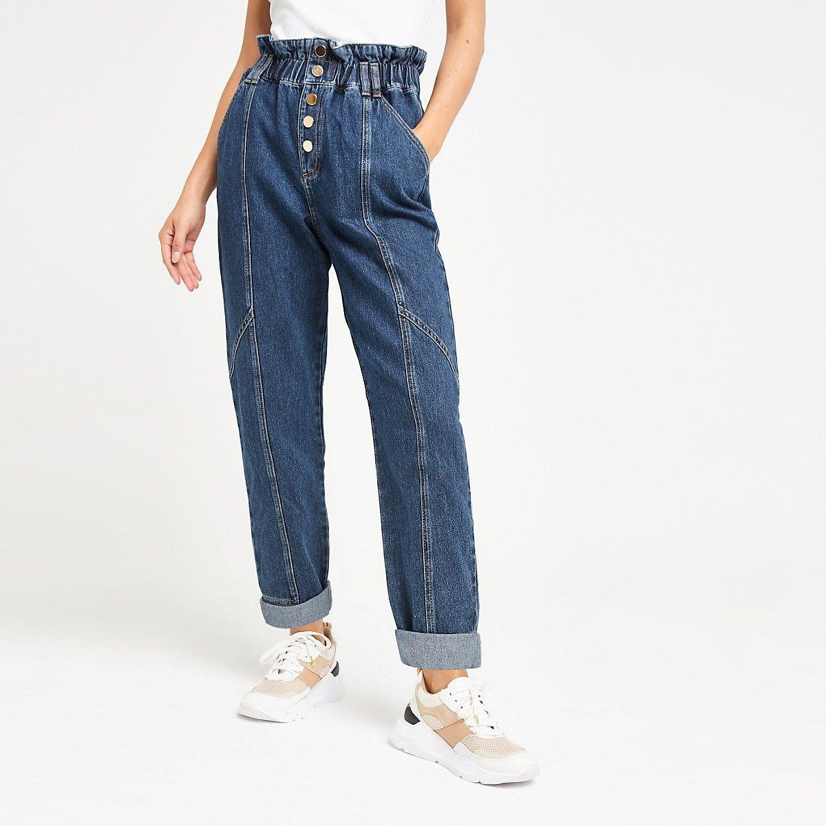 Mid blue paperbag denim jeans | Denim jeans, Denim, Jeans