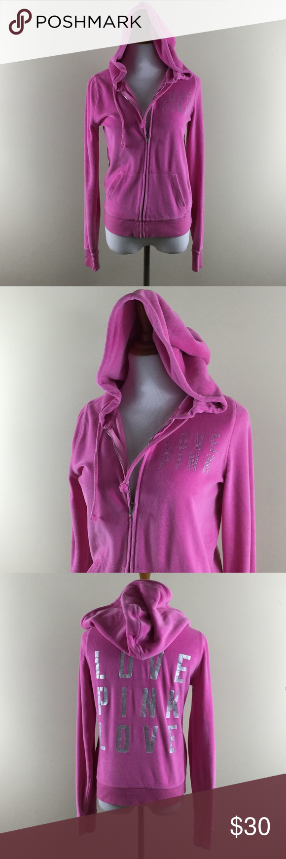 PINK Hoodie Jacket S Victorias Secret pocket zip Good condition PINK Victoria's Secret Jackets & Coats