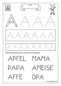 vorschulkinder können hier mit ersten Übungen das alphabet kenn… in 2020 | arbeitsblätter