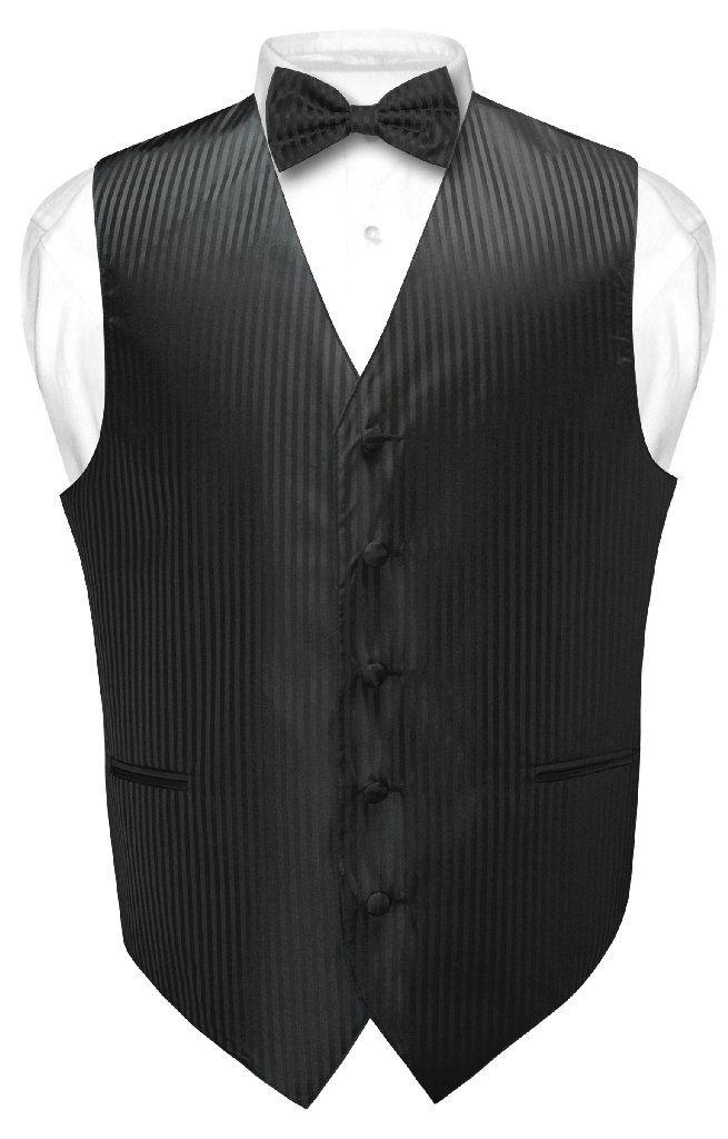 b32d641fca0c Men's Dress Vest & BOWTie BLACK Vertical Striped Design Bow Tie Set for Suit  Tux
