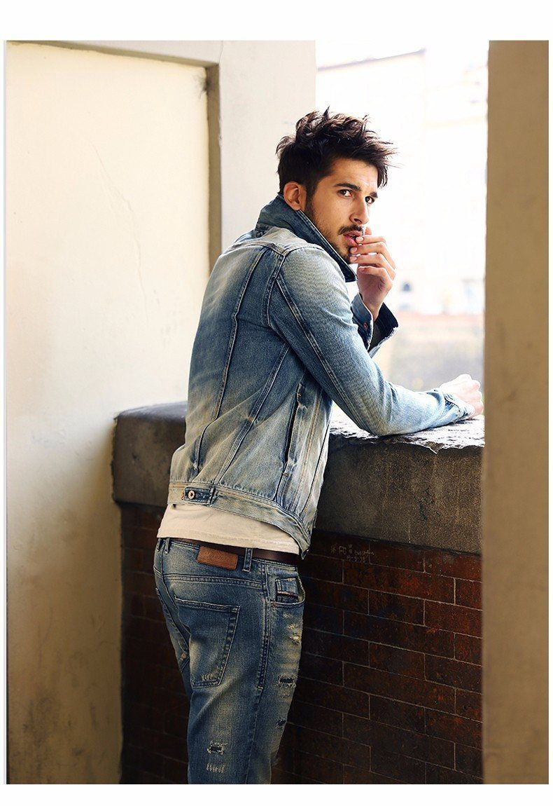 1bd838c1ae93 Leather Collar Denim Jacket / Great denim on denim look | Men's ...