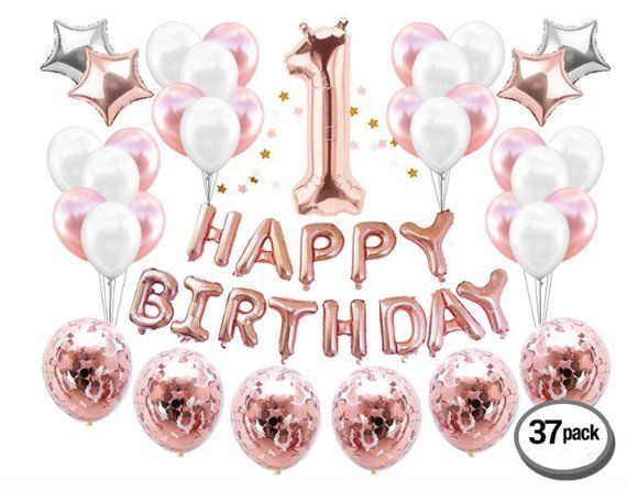 Rose Gold 1st Birthday Girl Decorations Party Happy Banner One Cake Topper First Baby Balloon Marble Pink Confetti Balloons
