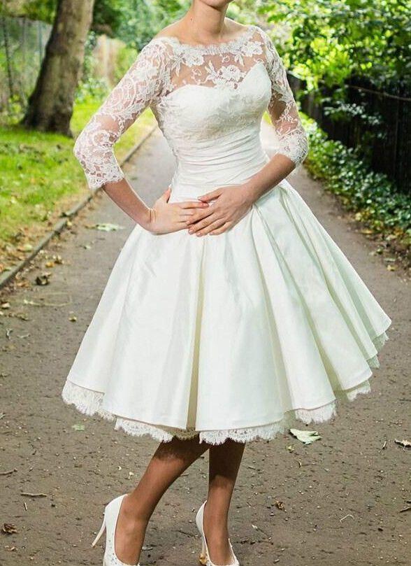 Short 3/4 sleeve Wedding Dresses Vintage Tea length White Ivory Lace ...