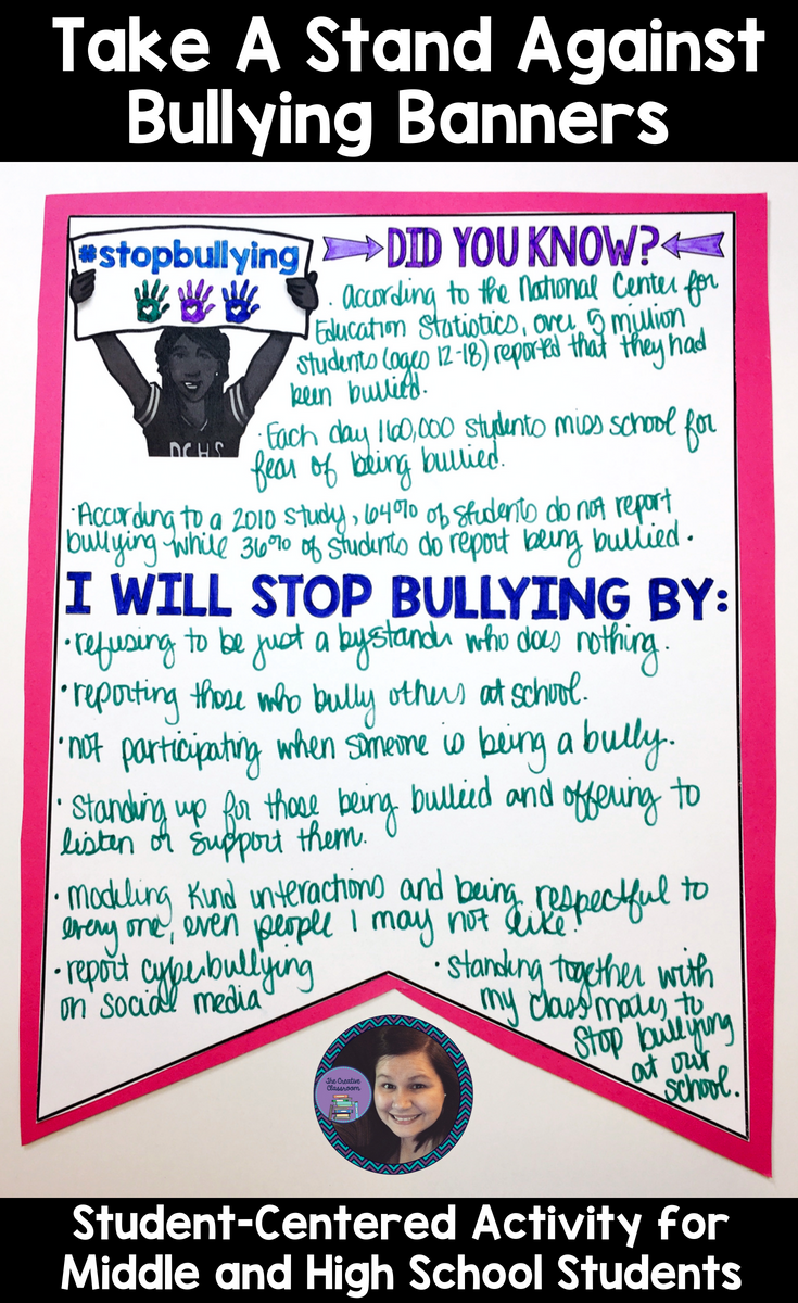 Bullying In Schools Is A Major Epidemic That Middle And High School Students Face Engage Your Students Student Centered Activities Bullying Research Projects