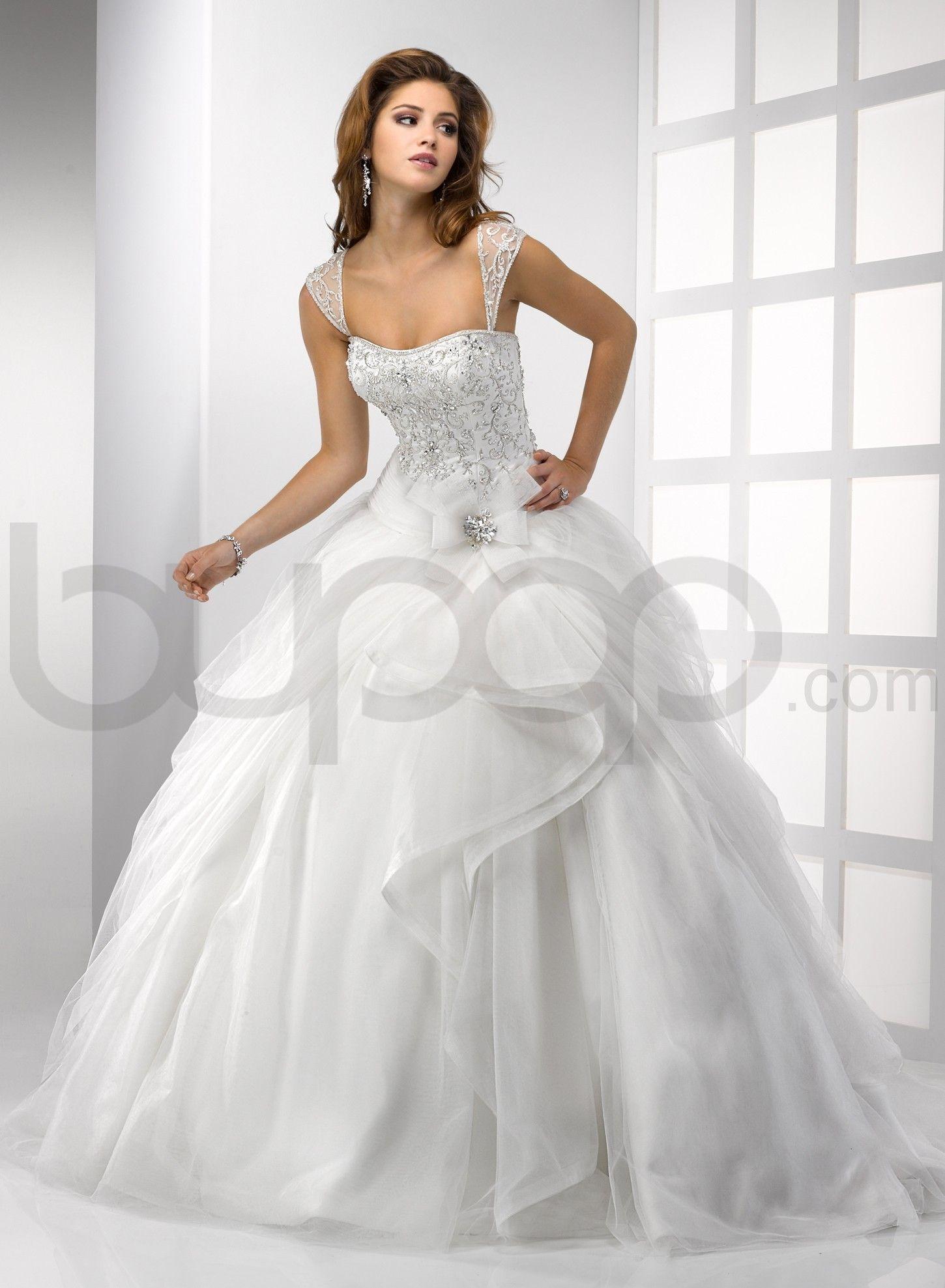 cap sleeve ball gown wedding dress