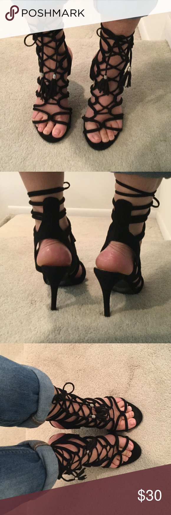 Black gladiator heels Suede gladiator pumps. In great condition! Have black tassels that give style to outfit. Size 61/2 Wild Diva Shoes Heels