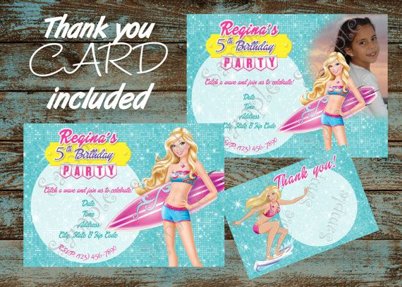 Barbie Pool Birthday Party Invitation FREE By 954onlineinvitations