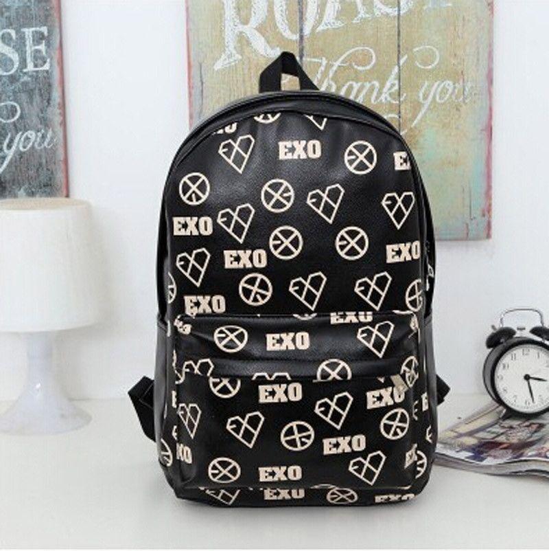 Kpop EXO Bigbang Backpack SEHUN SUHO PU Leather Schoolbag Bag CHEN XIUMIN D.O.