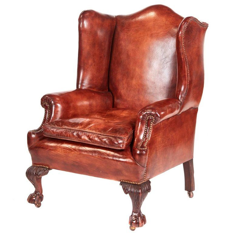 Phenomenal 1Stdibs Leather Antique Wing Back Library Victorian European Spiritservingveterans Wood Chair Design Ideas Spiritservingveteransorg