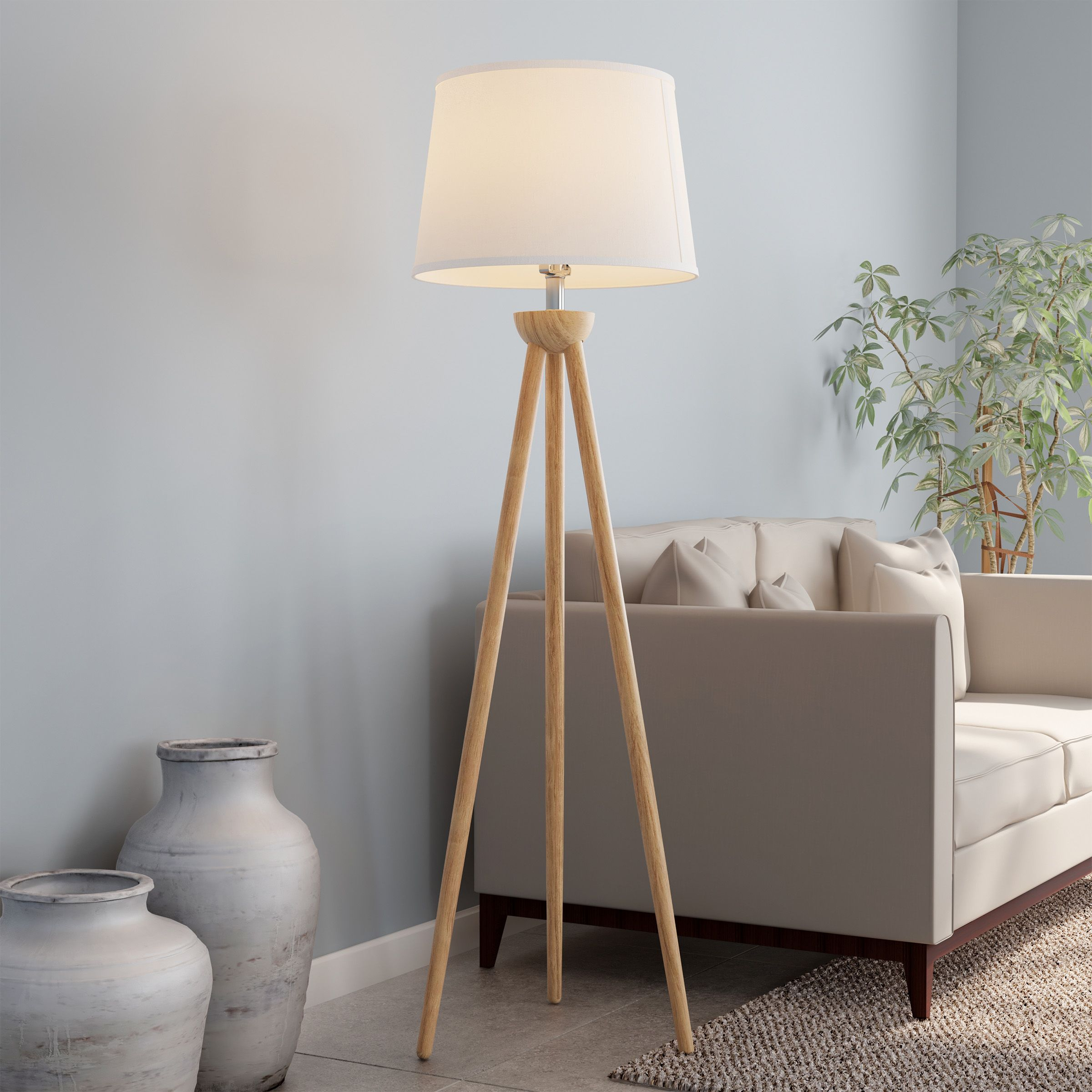Tripod Modern Floor Lamp Led Bulb Natural Oak Wood With White Shade By Lavish Home Walmart Com In 2020 Floor Lamps Living Room Modern Floor Lamps Tripod Floor Lamps