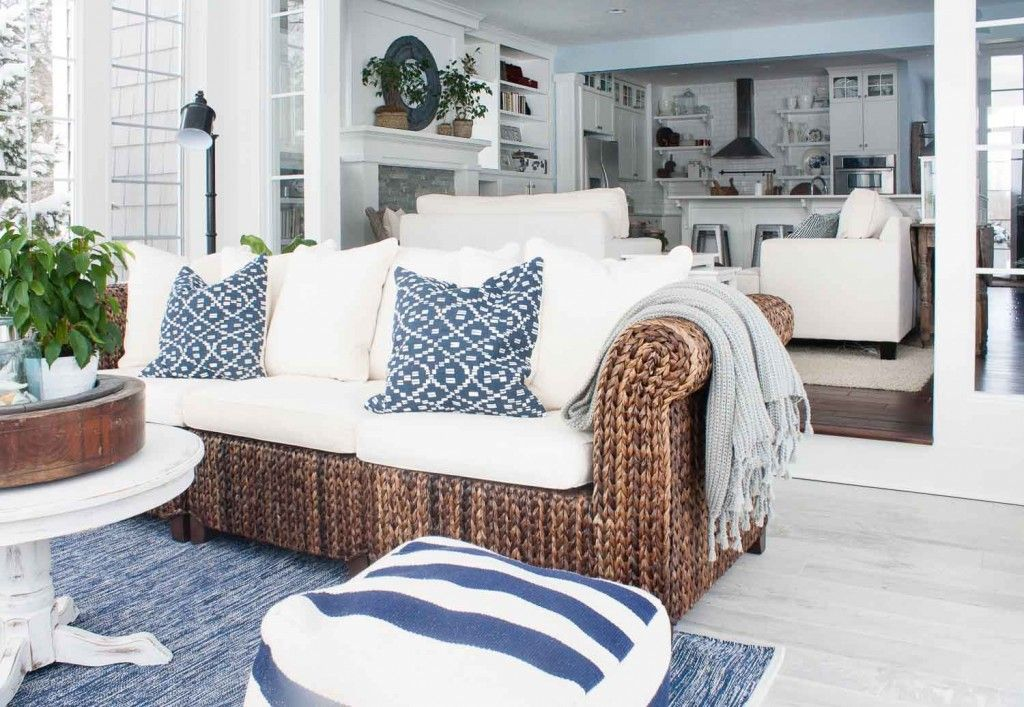 cozy outdoor room | cottage + beach | farmhouse | white wicker outdoor furniture | The Lilypad Cottage