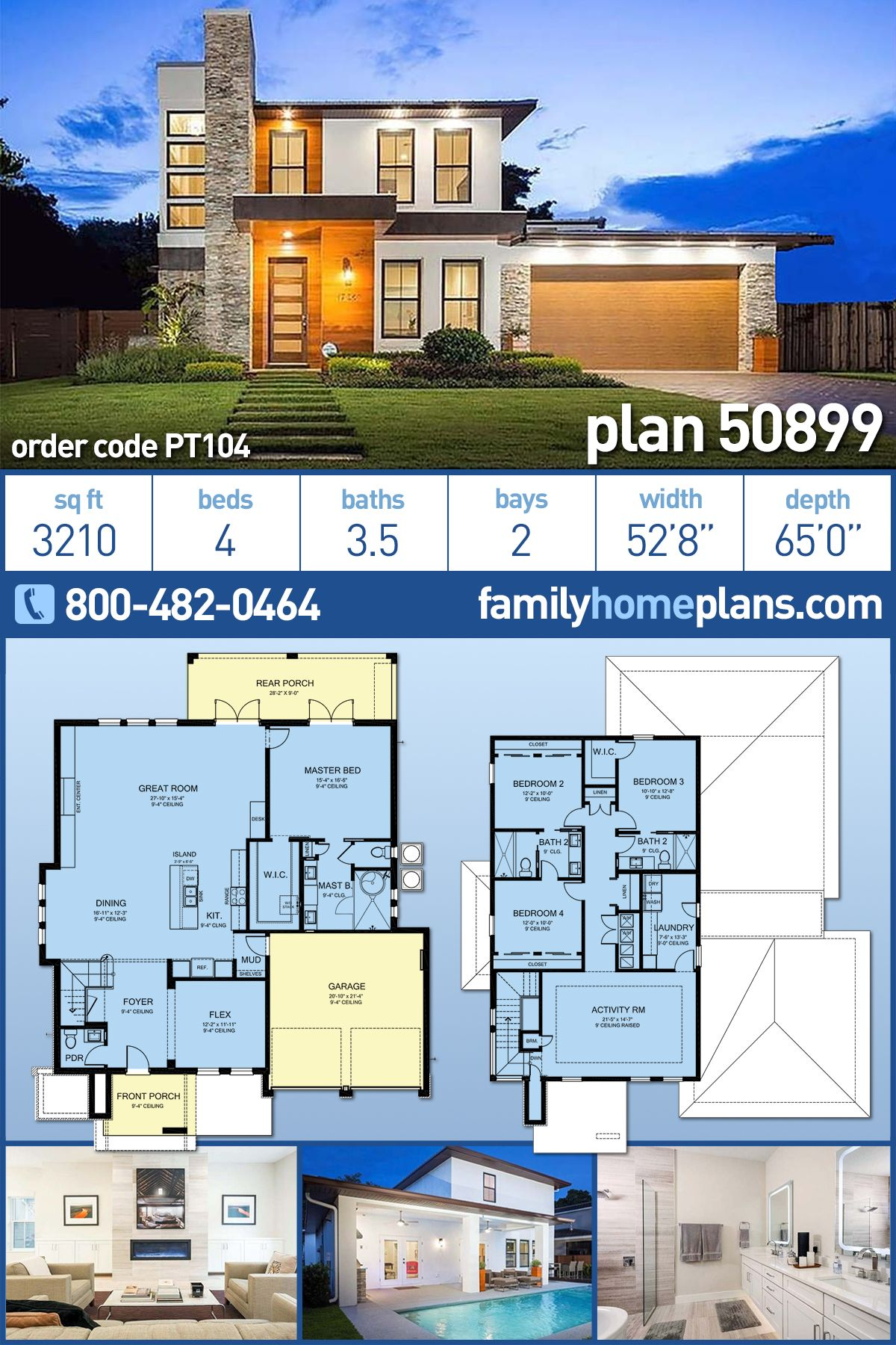 Modern Style House Plan 50899 With 4 Bed 4 Bath 2 Car Garage