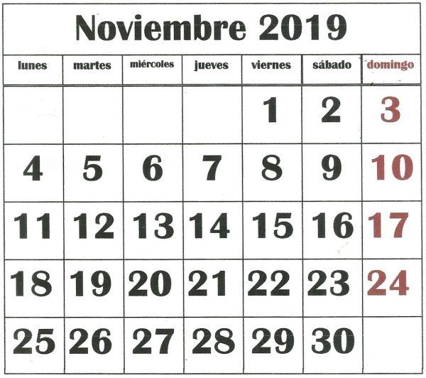 Fechas Talleres Dulces De Octubre: Noviembre 2019, Lunes Martes Miercoles Y