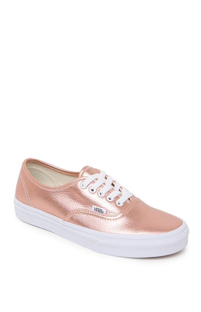7365f0caa1f Vans Authentic Leather Rose Sneakers - Womens Shoes - Rose Gold from PacSun…